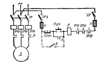 Защита асинхронного двигателя. Схема