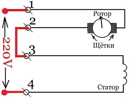Коллекторный двигатель переменного тока 220в схема подключения фото 422