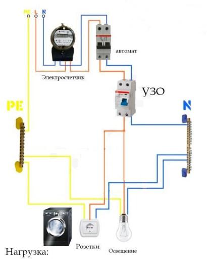 Схема установки отдельного выключателя