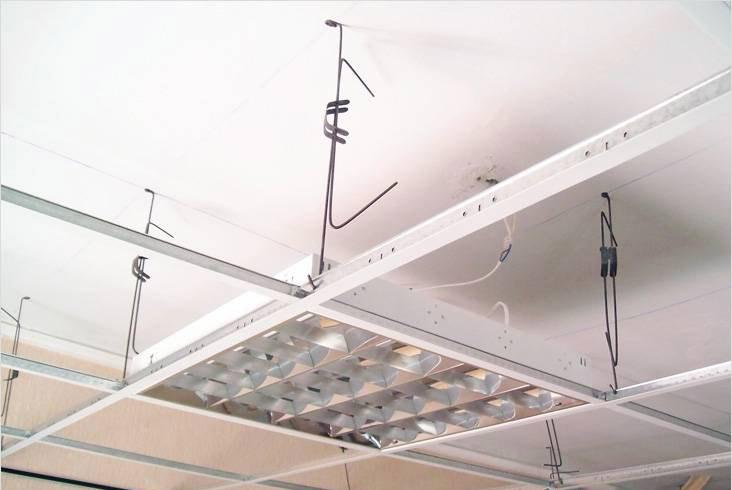 Светильник для потолка типа Армстронг. Рама из профилей со штатными скобами