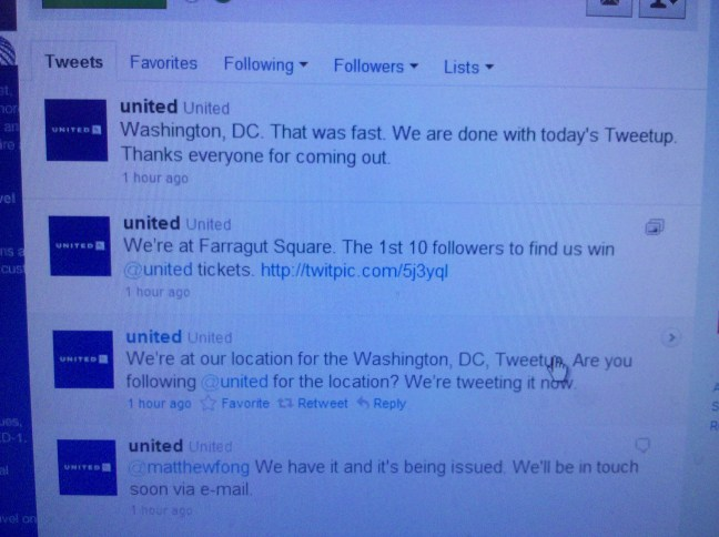 United Airlines Tweetup contest