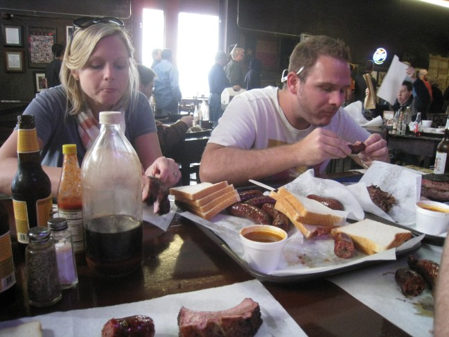 Chowing down at Louie Mueller Barbecue in Taylor
