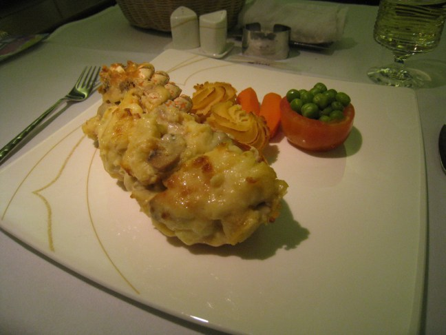 Lobster Thermidor on Thai Airlines First Class