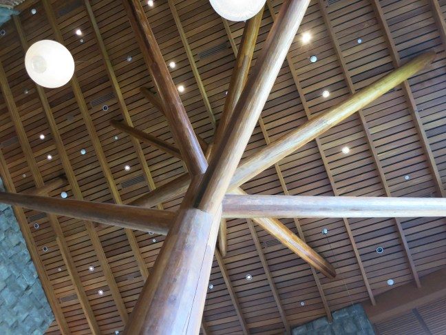 Lobby beams at Tambo del Inka Sacred Valley Peru