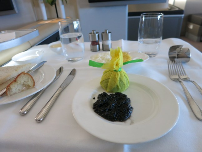 Caviar on first class Lufthansa flight to Croatia