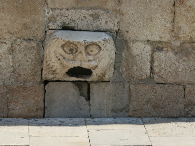 Funny wall decoration in Old Town, Dubrovnik