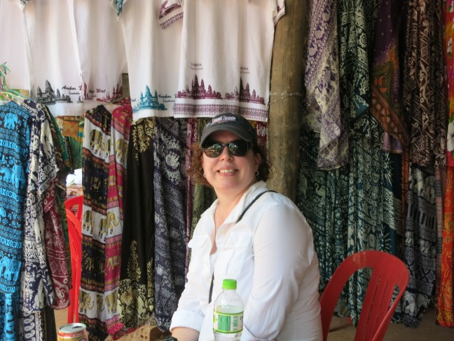 Me with some of the elephant pants on display outside of one of the temples.