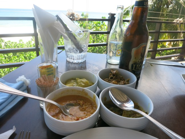 Sri Lankan curry and beer
