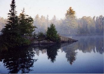 Island Lake in fog