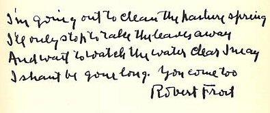 The Pasture - Manuscript Robert Frost