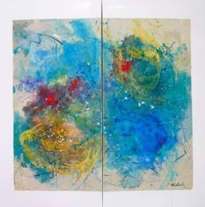 Midori McCabe - Nagare (Flow) handmade paper on canvas