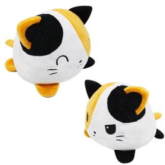 Reversible zwart oranje wit poes knuffel