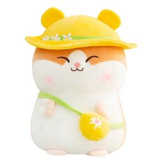 Hamster geel hoedje knuffel
