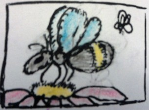 """Bees"""" art by CC Willow ink, graphite & colored pencil"""