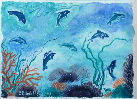 Playful Dolphins watercolor