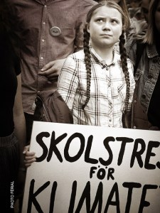Greta Thunberg With Strike Sign