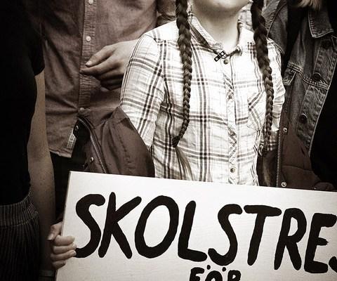Greta Thunberg With Strike Sign