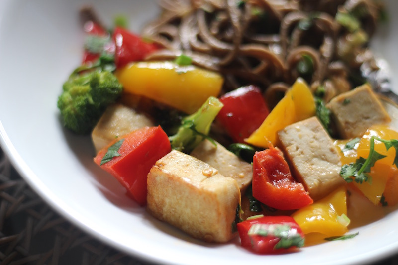 Spicy Tofu and Vegetables With Soba Noodles
