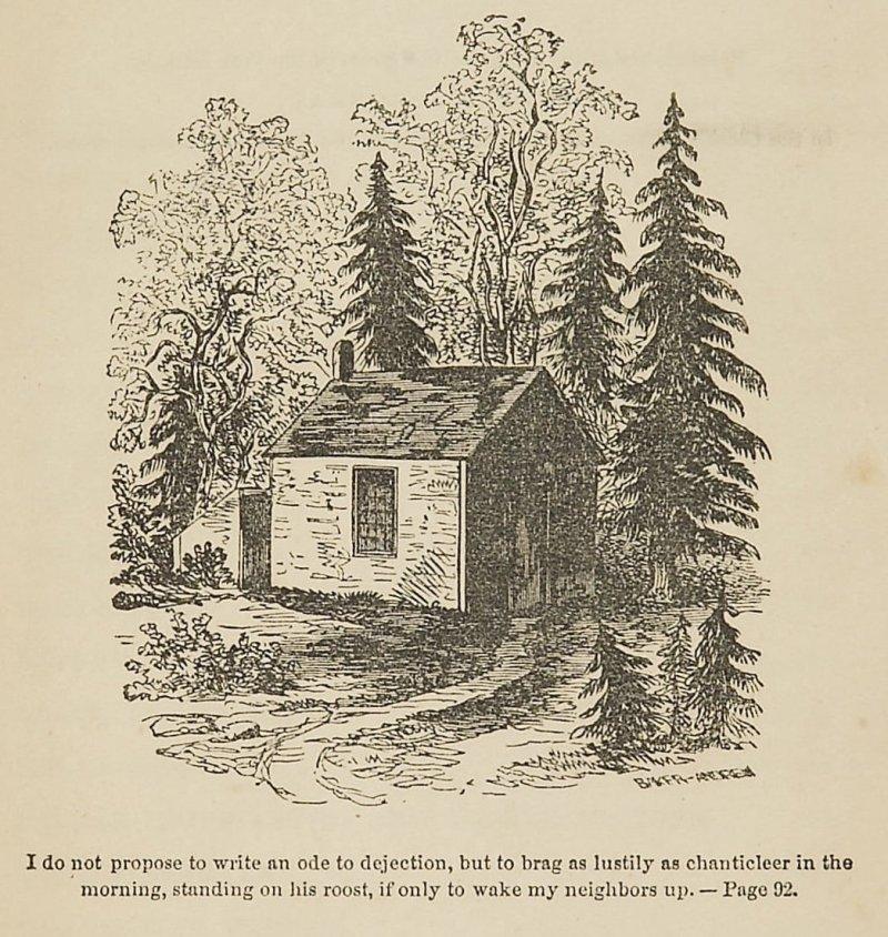 Original title page of Walden, with an illustration from a drawing by Thoreau's sister Sophia