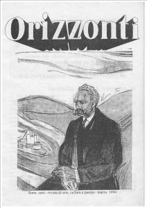 Copertina del primo numero della Rivista Letteraria Orizzonti (marzo 1994) che fu fondata da Alessandro D'Agostini e Giuseppe Aletti