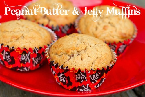 plate of peanut butter and jelly muffins