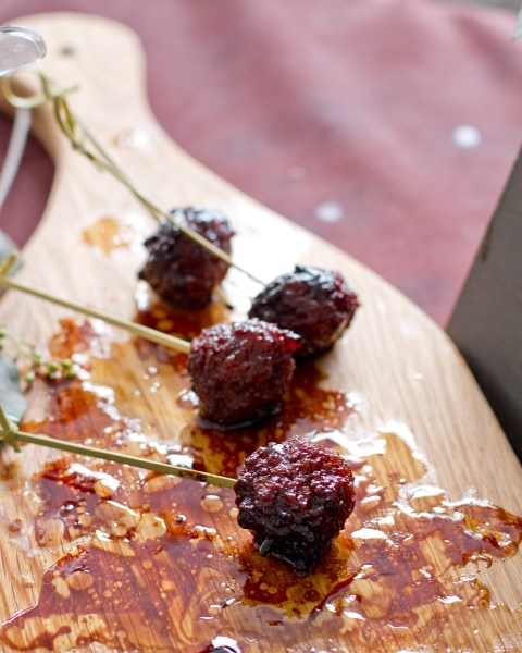 "Duck and Foie Gras Meatballs with Fig Jam from <a href=""http://www.napaandcompany.com/"" target=""_blank"">napa & co.</a>"