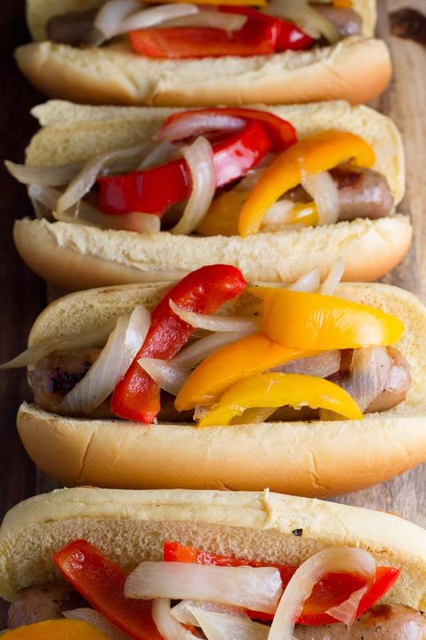 Brats with Onions and Peppers