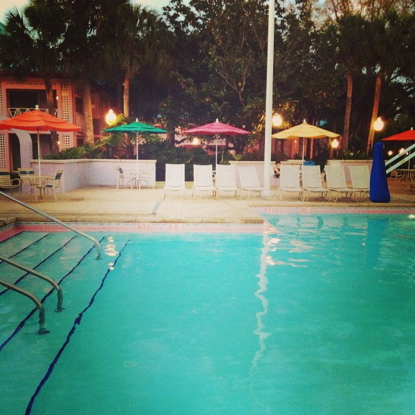 The quiet pools at Disney World resorts are a great place to relax and chill out for a while.