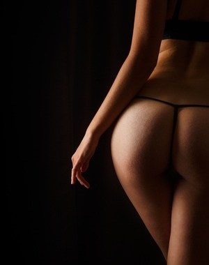 Silhouette image of woman in tiny panties looking posed