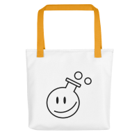 A smiley shopper bag with yellow strands