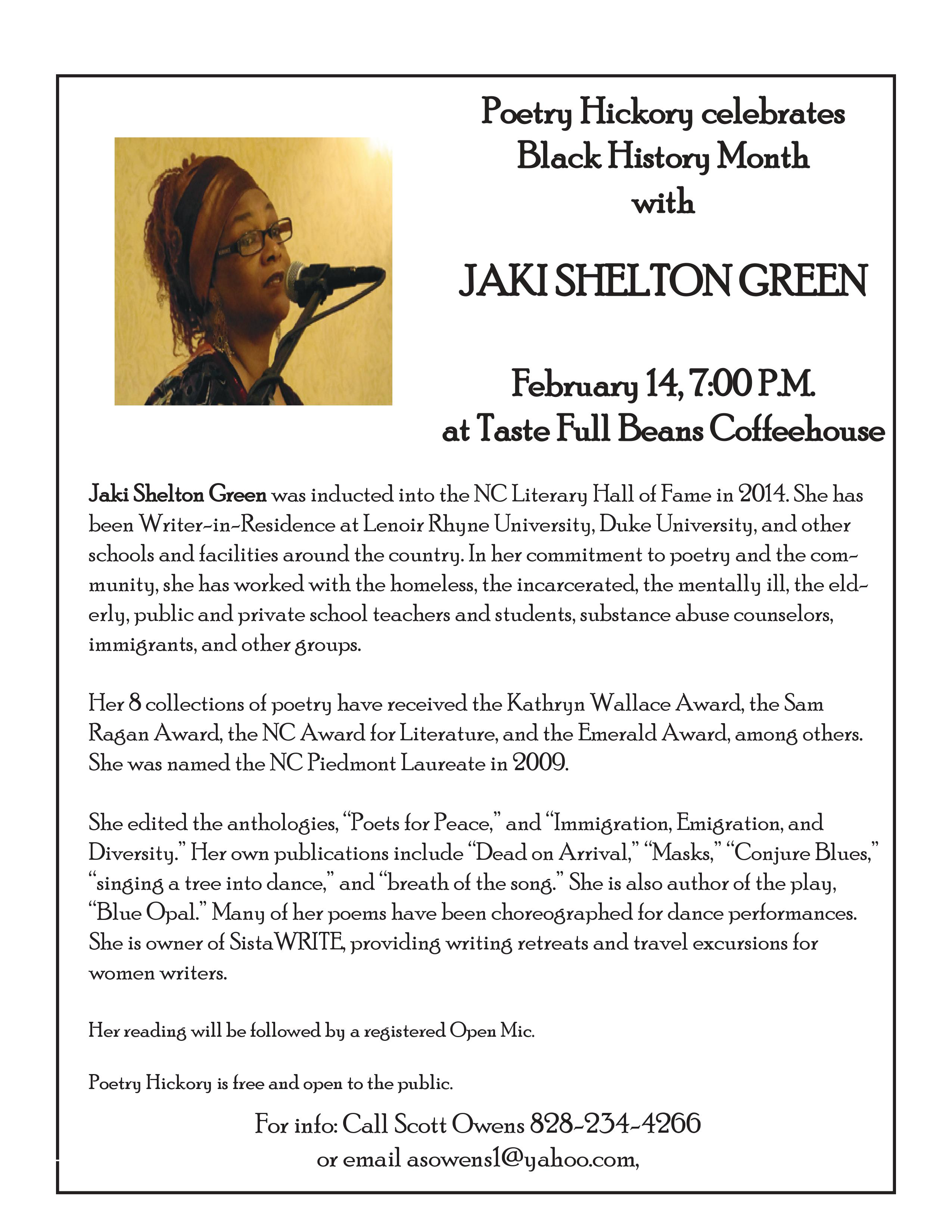 Poetry Hickory Celebrates Black History Month With Jaki