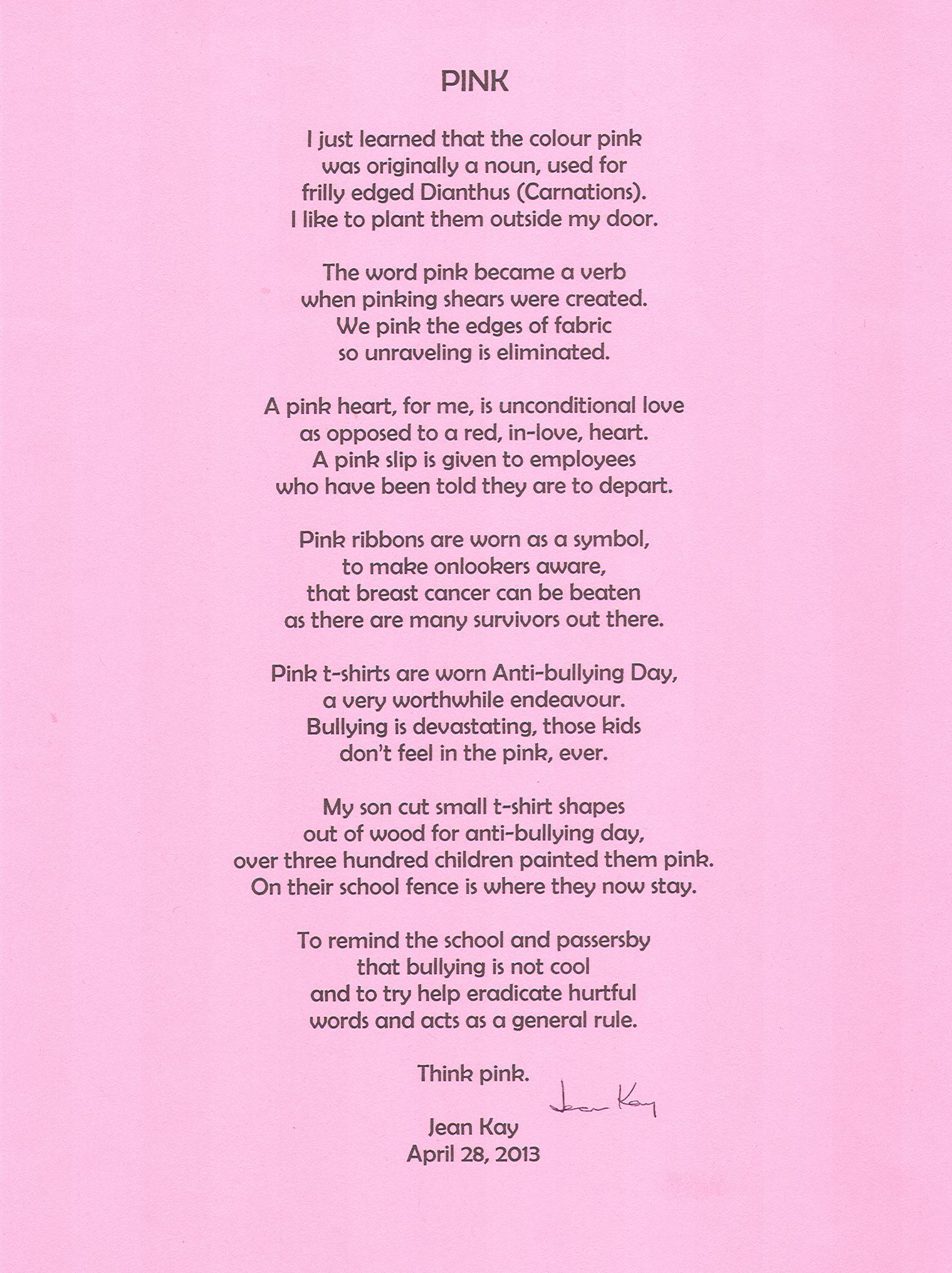 Pink Poem By Jean Kay
