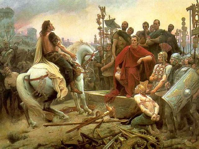 Vercingetorix throws down his arms at the feet of Julius Caesar. This 1899 painting by Lionel Royer depicts the surrender of the Gallic chieftain after the Battle of Alesia (52 BC).