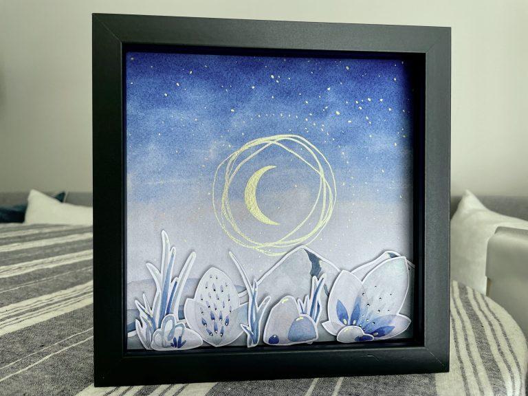 Moon Dust shadowbox watercolor art