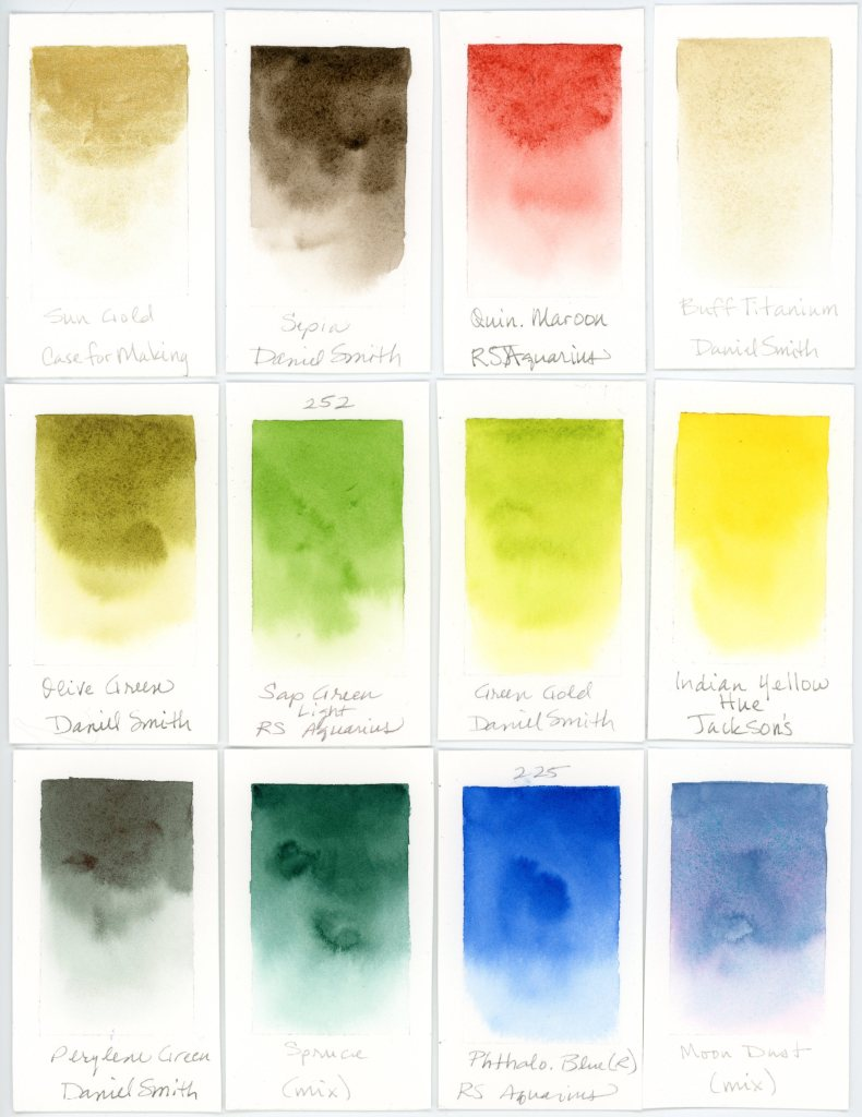 Auxiliary travel palette watercolor swatches