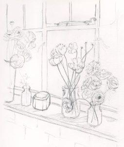 Sketch--boquets in a window