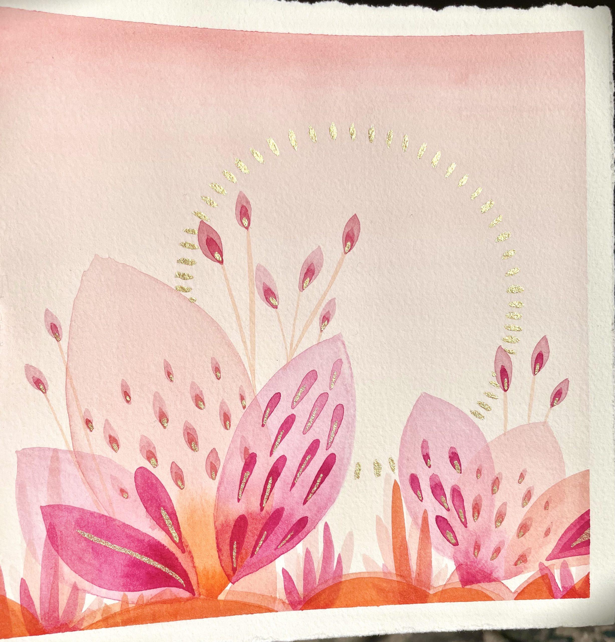 Abstract botanic watercolor art