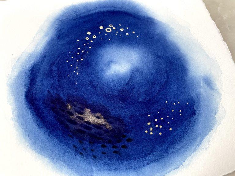 Royal blue abstract watercolor