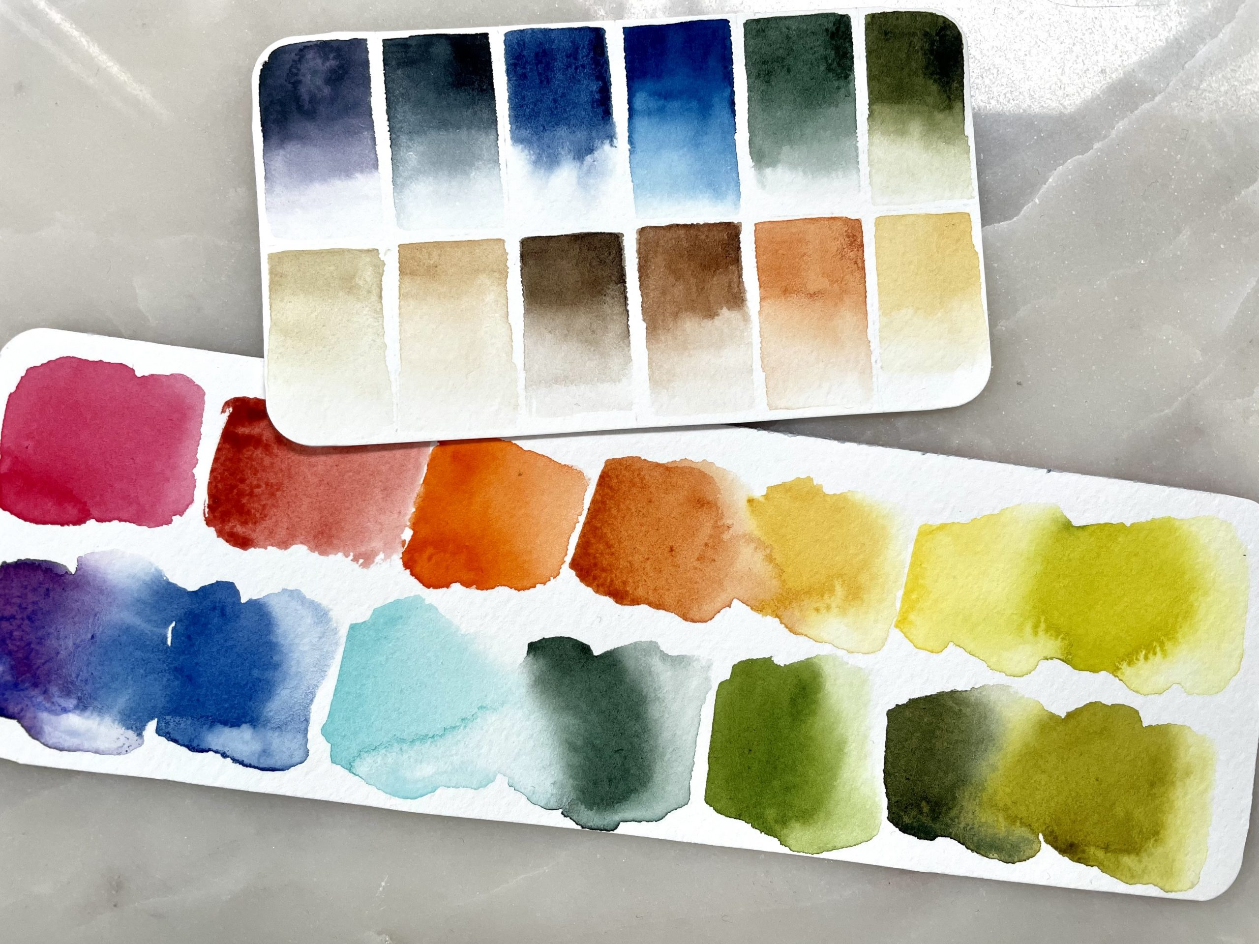 Autumn and Earth Tones watercolor palette swatch cards