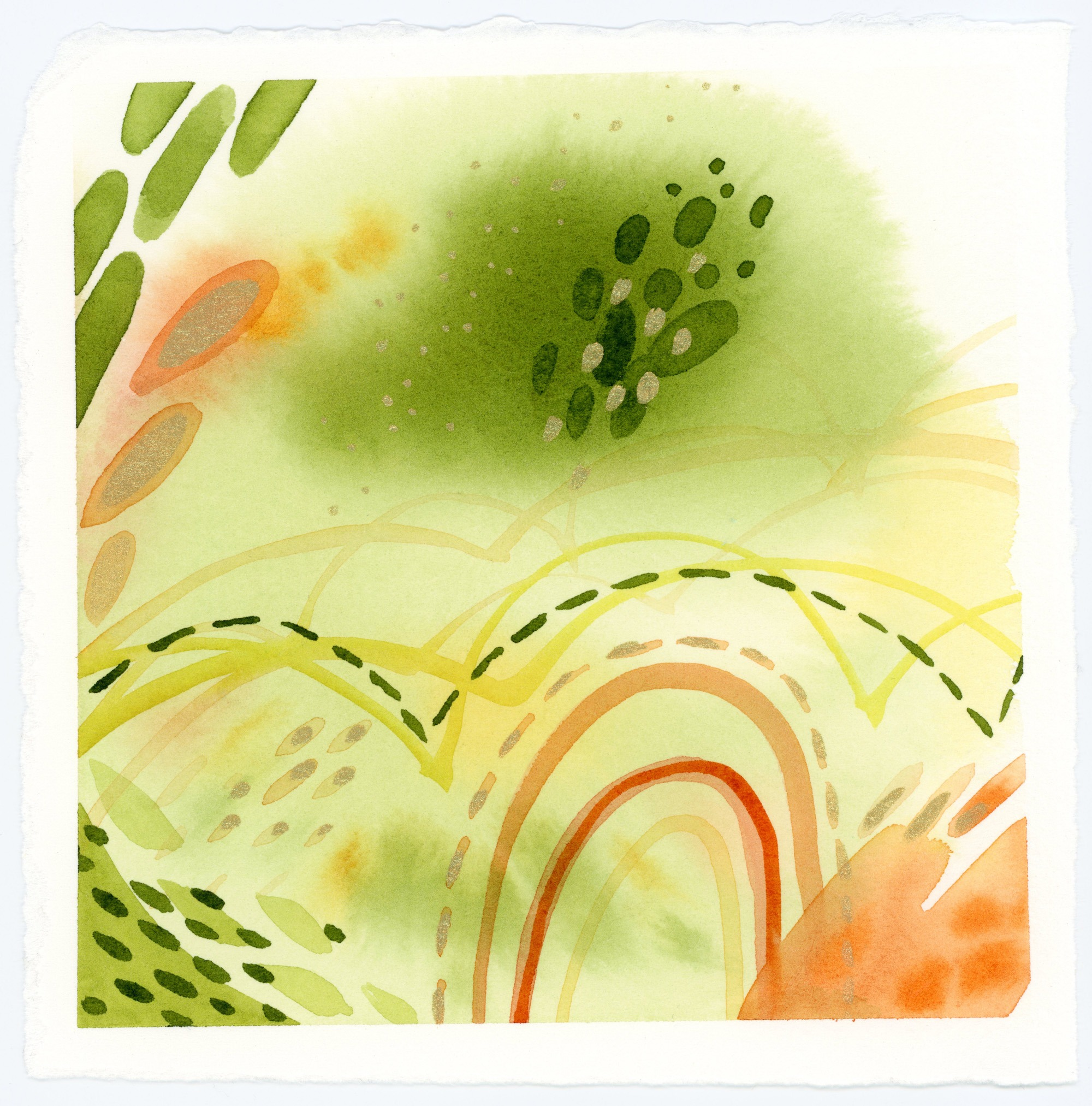 Green & Orange abstract watercolor painting