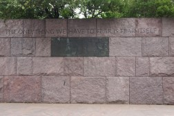 Plaque showing FDR proceeding from the inauguration