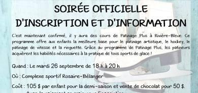 PATINAGE ARTISTIQUE – SOIRÉE OFFICIELLE D'INSCRIPTION ET D'INFORMATION