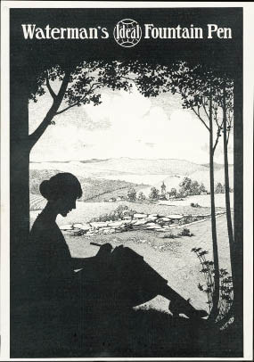 advertisement-for-a-fountain-pen-featuring-a-silhouette-of-a-woman-sitting-under-a-tree-writing
