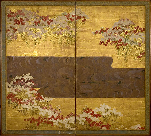 Ogata Korin Red and White FLowers in Bloom by a Flowing Stream 18th C 2panel screen ink color gold silver onpap