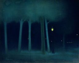 """A Park at Night"" (1892-95) by József Rippl-Rónai"