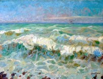 """Les Vagues"" (c1920, oil on canvas)by Raphael Chanterou"