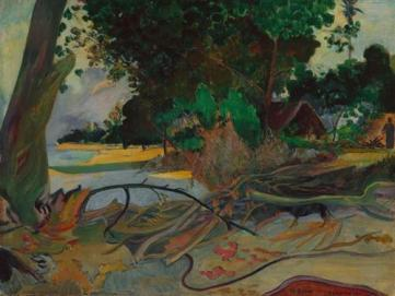 """""""The Hisbiskus Tree"""" (1892, oil on canvas)by Paul Gauguin"""