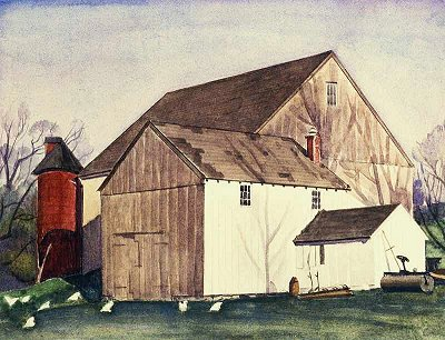 Charles Sheeler Bucks County Barn 1926 watercolor over pencil on paper