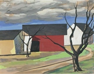 """Red Barn and Trees"" (1946, gouache on paper)by Charles Sheeler"