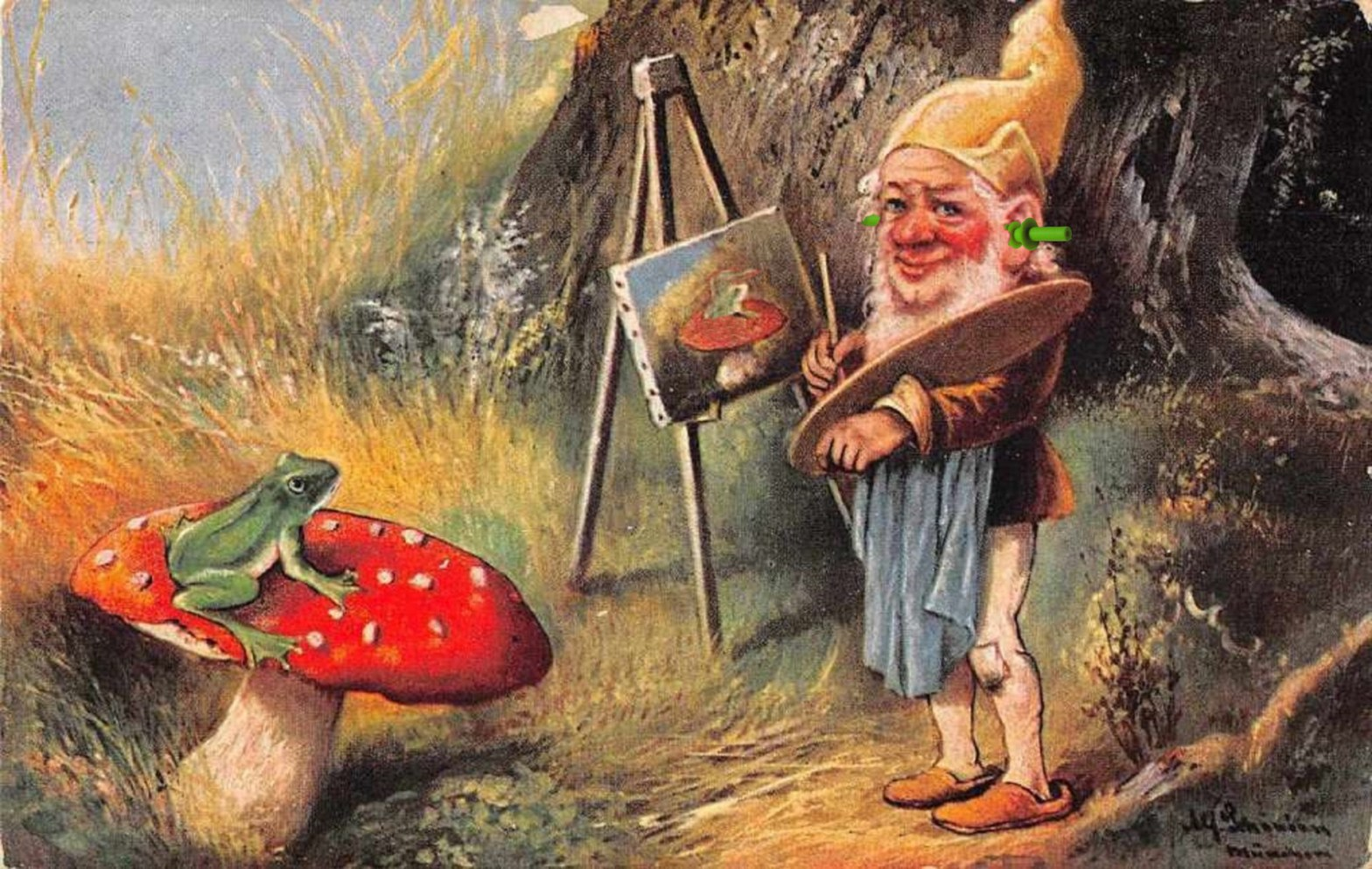 CC BY 2.5 by Light_current (earplug) and Poikilos (photomanip); Gnome Elf Painting Frog on Mushroom Artist Unknown Ca 1912 CC0
